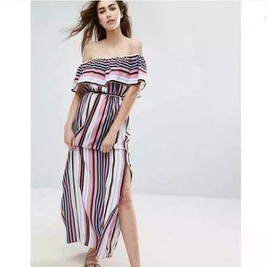 ASOS maternity Striped Off Shoulder Maxi Dress 6